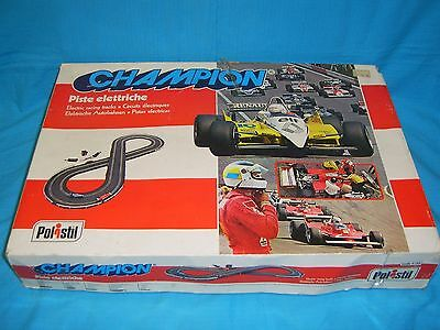 "Polistil - Vintage F1 Slot Car Track Set ""champion"" - Boxed. Made In Italy. Rare"