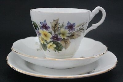 SPRINGFIELD bone china cup, saucer and plate trio. Violets. Made in England.