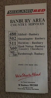Midland Red Bus Timetable March 1991 - Banbury Area Country Services