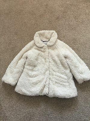 Next Girls Cream Fluffy Jacket Aged 1 And Half - 2 Years