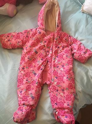 Debenhams Baby Girls Snowsuit Pramsuit 6-9 Months Excellent Condition
