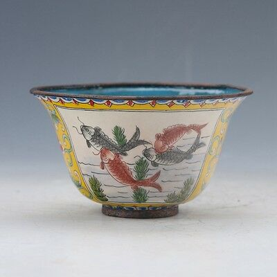Chinese Cloisonne Handwork Fish Pattern Bowl W Qianlong Mark 1