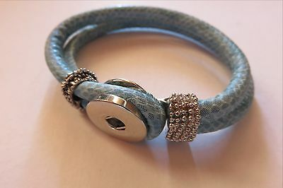 Leather Bracelet Blue for Noosa Style snap Buttons