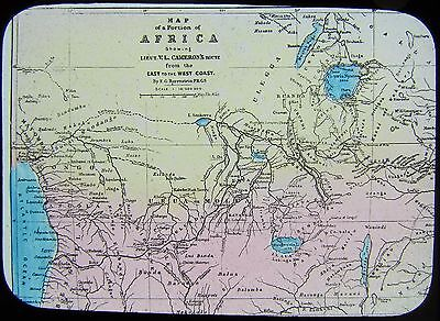 Glass Magic Lantern Slide MAP OF CAMERONS ROUTE C1890 HENRY STANLEY IN AFRICA