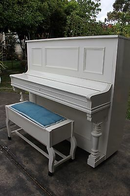 White Wagner Upright Piano with Seat Stool