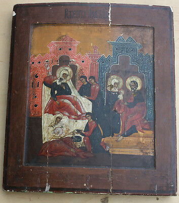 Antique Russian Icon of the  Birth of Maria, 18-19th Century, not restored