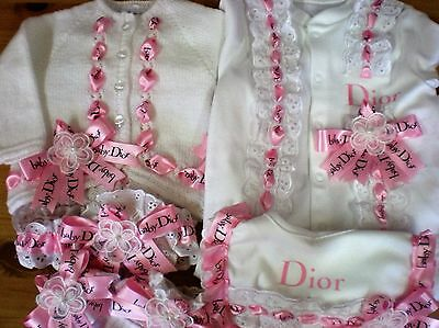 Romany Blinged Baby Layette Set in White/Pink - Sizes NB - 6-9 months