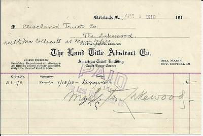 Land Title Abstract Co Cleveland OH 1910 Billhead American Trust Lakewood