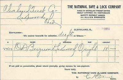 National Safe & Lock Cleveland OH 1910 Billhead Safes Vault Linings Trust