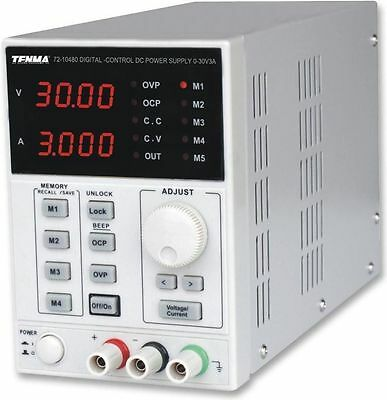TENMA 72-10480 Programmable Lab Power Supply 1Ch 0-30V 3A Adjustable