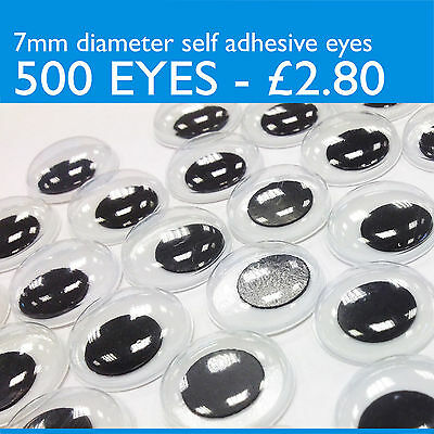 500 WIGGLY google EYES art & craft fun, SELF ADHESIVE wobbly moving eyes, 7mm