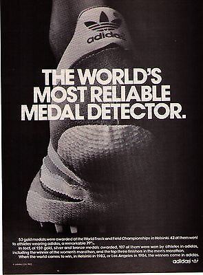 "1983  Adidas ""The World's Most Reliable Metal Detector"" Shoe Print Advertisement"