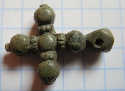 Viking Period bronze cross with balls on the rays 1200-1300 AD+ VF+++