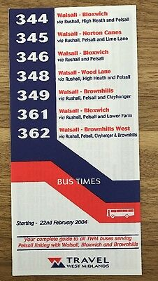 Travel West Midlands Bus Timetable February 2004 - Walsall