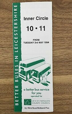 Leicestershire Bus Timetable May 1994 10,11 Leicester Inner Circle