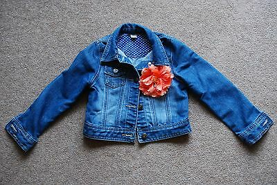 TU Girls blue jean jacket with flower 5-6 years