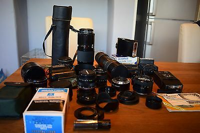 Job lot of SLR camera accessories, lenses, flashes and sundries