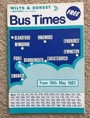 Wilts & Dorset Bus Timetable May 1983 - Poole, Bournemouth, Lymington