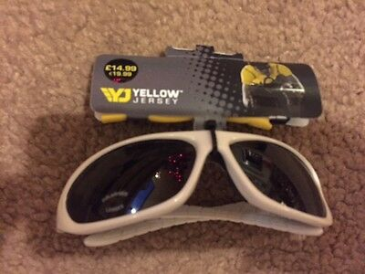 YELLOW JERSEY White Bike Racing Glasses RRP £15 New with tags