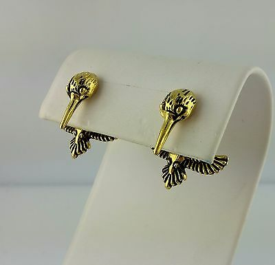 EARlusion 3D Gold Plated Pewter Hummingbird earrings