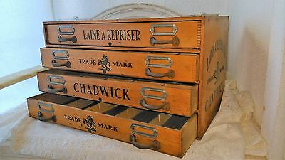 Antique wooden 4 drawer  silk spool thread cabinet,Chadwick,store counter