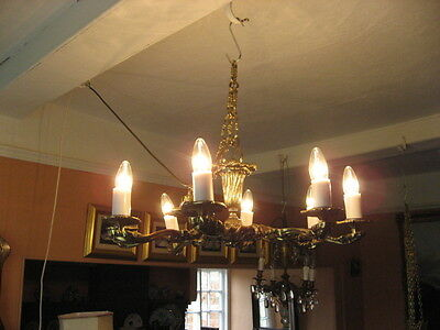 Vintage Large 8 Branch Solid Gilt Brass Chandelier With Original Chain /3750