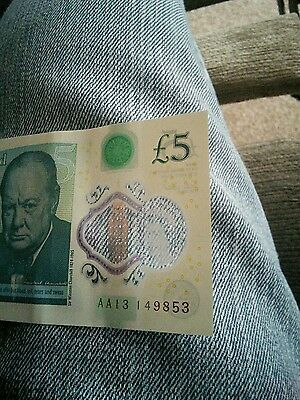 **LOW  AA13 SERIAL NUMBER** £5 Polymer Five Pound Bank Note