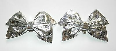 Pair of Vintage Shoe Clips Bow Design Silver Leather