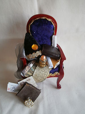 Dolls house miniatures, dressed arm chair, 'Harry Potter' wizardry. 1:12th scale