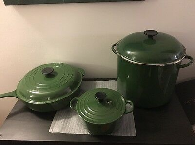 Le Creuset Racing Green Set- 18cm Casserole, Frying Pan W/lid, Stockpot, Bowl