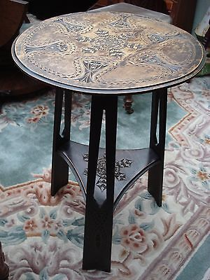 Antique Arts & Crafts Solid Oak Tripod Superbly Carved Occasional Table