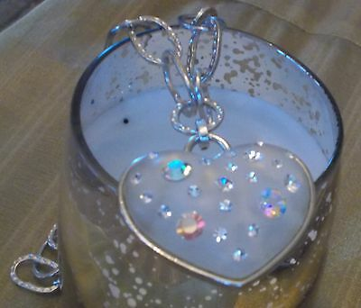 Fabulous 1980's Large Heart Necklace. Set With Crystal Stones. Fab For Xmas