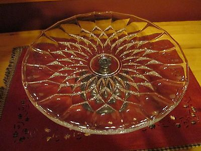 """Lovely W.a. Italy Silver Plated, Footed Glass Cake Plate, Poinsettia Pattern 12"""""""