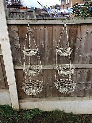 3 Tier Vintage Country Kitchen Hanging Baskets X2