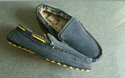 Mens Clarks Kite Storm Navy Suede Leather Moccasin Slippers Size UK 7