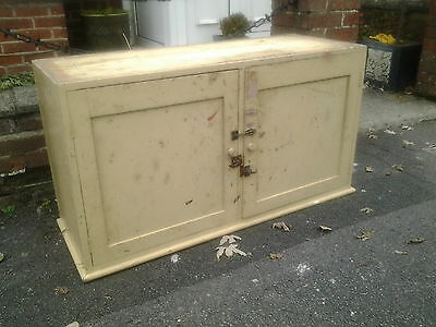 vintage industrial painted pine double cupboard with shelves.