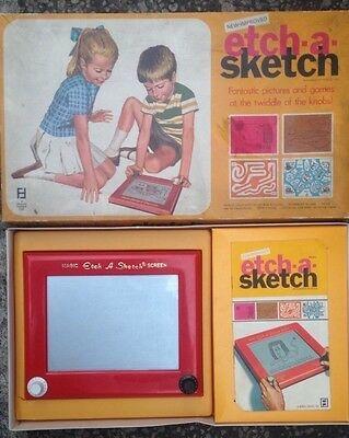 Etch A Sketch -1970-vintage-all Very Good-instructions And 3 Game Sheets-rare