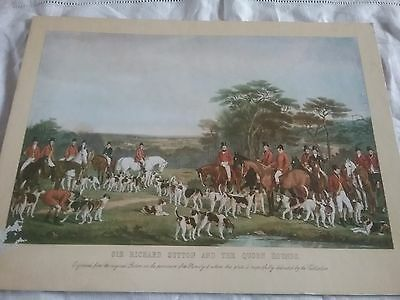 Vintage Fox Hunting Print  - Sir Richard Sutton And The Fox Hunting Hounds