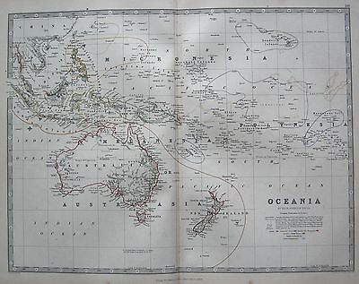 1868 Large Victorian Map : Oceania