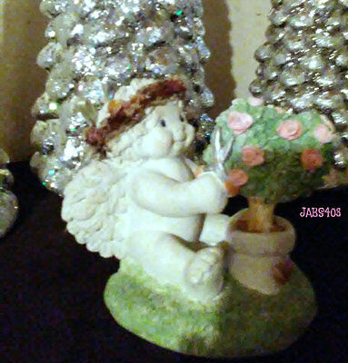 Dreamsicles Collectible Where Love Grows 10638 Cherub Pink Heart Roses Figurine