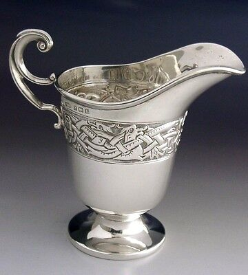 QUALITY ENGLISH STERLING SILVER CELTIC DRAGON CREAM JUG 1926 ANTIQUE 96g