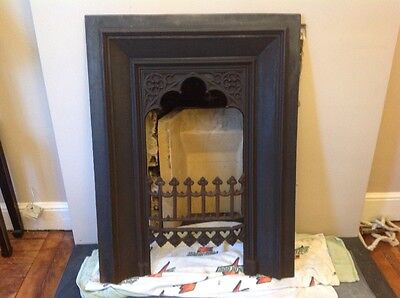 victorian gothic cast iron fire insert fireplace