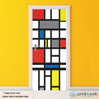 Mondrian Abstract Vinyl Door Wrap Decal Sticker Self Adhesive Art Bedroom Decor