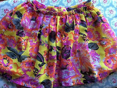 NUTMEG, age 4-5, VGC, bright pink & yellow floral full skirt