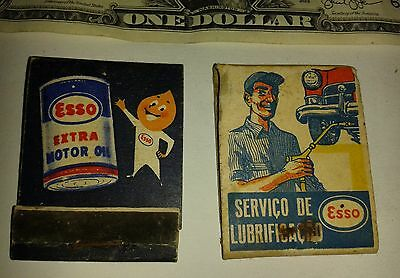 2 Vintage unused safety matchbooks advertising oil lubricant ESSO fuel station
