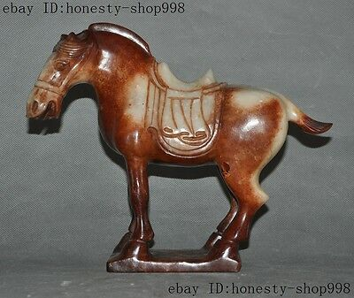 China Hetian Old jade HandCarved Fengshui zodiac Tang Horse Horses Animal Statue