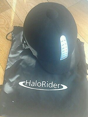 HaloRider black Horse riding hat size 55 with bag
