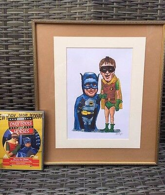 Only Fools and Horses Signed By Artist BATMAN AND ROBIN Picture Print AND DVD