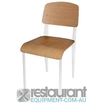 Bolero Wooden Dining Chairs with White Steel Frame (Pack of 4) Furniture Chairs