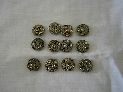 ANTIQUE SET of Twelve METAL, MIRROR BACKED BUTTONS.